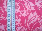 Floribella's Pink Tulips & Leaves on red 100% cotton fabric from Riley Blake