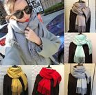 Women Oversized Wool Solid Pashmina Scarf Wraps Winter Warm Blanket Scarves