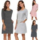 Women Casual 3/4 Sleeve Striped O Neck Pockets Loose Dress FT