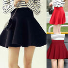Women/Ladies High Waist Plain Flared Short Mini Skater Swing Pleated Party Skirt