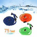 75 Feet Natural Latex Flexible Expanded Garden Water Hose US with Spray Nozzle
