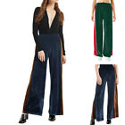 New Women Ladies Contrast Color Flared Wide Leg Pants leggings Baggy Trousers