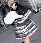 Womens Glitter Silver Peacoat Winter Thick Down Coat Real Lamb Fur Hooded Jacket