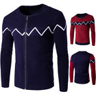 Men Winter Warm Knitted Coat Cardigan Sweater Striped Thicken Stand Neck Jackets