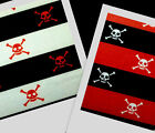 DANGER pirate poison white skull black red stripe fabric By The Yard, 2 colors
