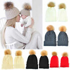 Mom Mother Kids Girl Boy Baby Knit Fur Pom Crochet Hat Winter Warm Beanie Cap