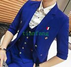Mens Double-Breasted Coats Pant Vest Suits British 3/4 sleeve Slim Formal Casual