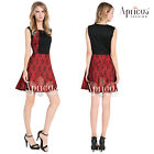 Women Color Block Black Red Sleeveless Floral Lace Cocktail Party Skater Dress