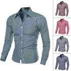 MENS Luxury Business Slim Fit Stylish Plaid Dress Shirts Long Sleeve Check Shirt
