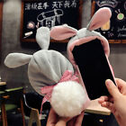 Christmas Bunny Rabbit Fur Plush Fluffy Warm Case Cover For iPhone X 8 7 6S Plus