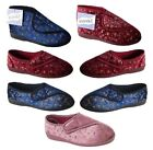 Womens Wide Eee Fit Washable Burgundy/Blue Orthopedic Diabetic Slippers Booties