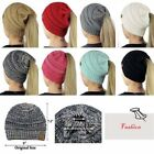 Ponytail Beanie Hat stretch knit hat Cable womens winter warm Winter New