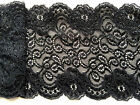 """""""Laces Galore"""" Black Iridescent Stretch French Scalloped Lace 5.75""""/14.5 cm Trim"""
