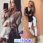 US Women Tops Deep V Neck Long Hollow Out Sleeves Side Vent Shirt T-Shirt Blouse