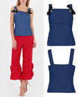 Women's New  Denim Style Blouse Shirt Summer Sleeveless Top With Bow Detail 6-14