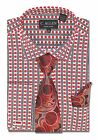 100 cotton mens dress shirts - C. Allen 100% Cotton Mens Dress shirt Tie Combo French cuffs Dot Printed Red