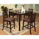 Dining Room Counter Height Table & Chairs Padded Microfiber Seats Espresso Chair
