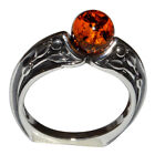 6.13g Authentic Baltic Amber 925 Sterling Silver Ring Jewelry N-A7552