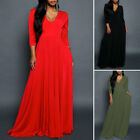 Plus Women's 3/4 Sleeve Cocktail Prom Gown Party Evening V Neck Maxi Long Dress