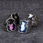 Fashion Beauty Woman Bear Cute Crystal Charm Ring Vintage Accessories