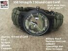 US Army Green Paracord Survival Bracelet Compass Fire Starter Whistle Camo Watch