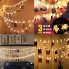 10/20/40 LED Card Photo Clip String Light Fairy Party Wedding Hanging Home Decor