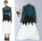 Occident style 2018 runway Hollow black and white Mosaic Crimp temperament Dress