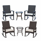 3PC Classic Patio Furniture Set Outdoor Rattan Rocking Chair Table Deck Garden