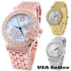 Fashion Butterfly Alloy Lady Women Stainless Steel Band Wrist Watch Watches Zi9