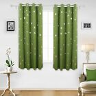 Deconovo Blackout Curtains Silver Star Print Solid Thermal Insulated Blackout C