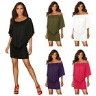 Women Off Shouder Batwing Sleeve Dress Lady Cocktail Party Bodycon Mini Dress
