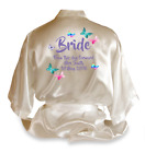 Personalised Butterfly Satin Wedding Robe Dressing Gown Bride Wear Gift - D1