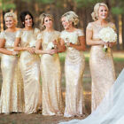 US Womens Bridesmaid Backless Fishtail Sequin Wedding Evening Party Maxi Dresses