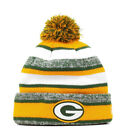 New Era NFL Green Bay Packers 2015 Green Yellow Beanie Stripped Lined Pom Hat