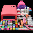 UK 36W UV Lamp Light Cure Dryer Gel Polish Nail Art Tips File Glitter Kit Set