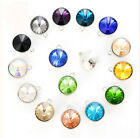 30Pcs Mixed Colors 12mm Round Crystal Glass Stone W/Setting Charms