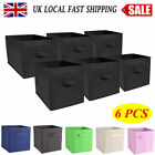 6x Large Foldable Square Canvas Storage Box Collapsible Fabric Cube Space-saving