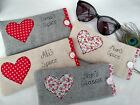 Personalised Heart Glasses Case Choice of colour & wording Anniversary Gift Wife