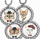 Intellectual Hipster Cats Kid's Bottle Cap Necklace Handcrafted Cat Lover Gift