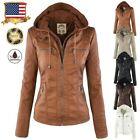 cheap womens parka jackets - Womens Leather Hooded Jacket Slim Parka Coat Overcoat Trench Cheap Outwear S-XL