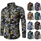 Stylish Men Slim Fit Luxury Floral Shirts Long Sleeve Dress Shirt Casual T-Shirt