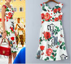 2018 Runway Occident Hot Style Women Printing Buttons Fishtail Party Dress SMLXL