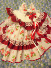 DREAM BABY SPANISH TRADITIONAL STRAWBERRY  DRESS & HBD 0-3 YEARS OR REBORN DOLLS