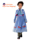 DH Halloween Princess Anna Costume Girl's Dress with Warm Coat 2pcs Set 2-10Y