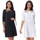 Women Floral Embroidery Crew Neck Loose A Line Slim 3/4 Sleeve Tunic Maxi Dress