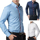 Mens Luxury Slim Fit Italian Designer Casual Formal Dress Shirts Collared Tops