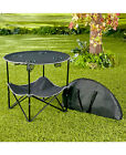 Portable Folding Picnic Table With Drink Holders & Shelf Storage Bag Camping RV