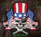 Uncle Sam Skull wearing Stars and Stripes Leather Vest Jacket Large BackPatch