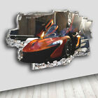C061 Cool Car Sports Boys  Decal Canvas 3D Smashed Hole Wall Vinyl Stickers Room