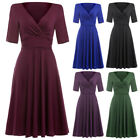 Circle Dress Evening Cocktail Formal Retro Vintage Party Swing 50s V-neck Style